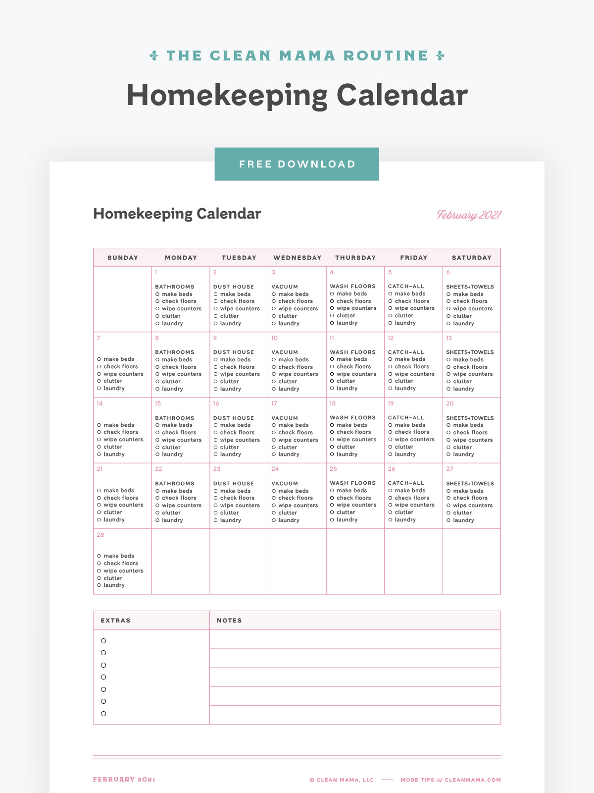 Free February 2021 Homekeeping Calendar – Clean Mama