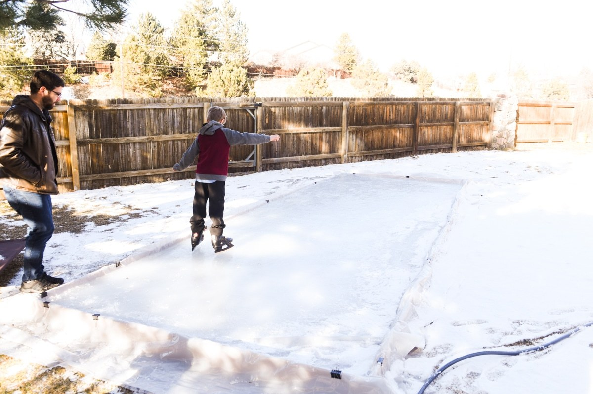 Easy DIY Backyard Ice Rink with Boards