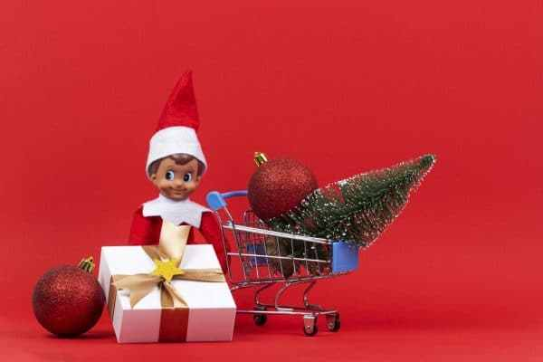 elf on the shelf by christmas tree