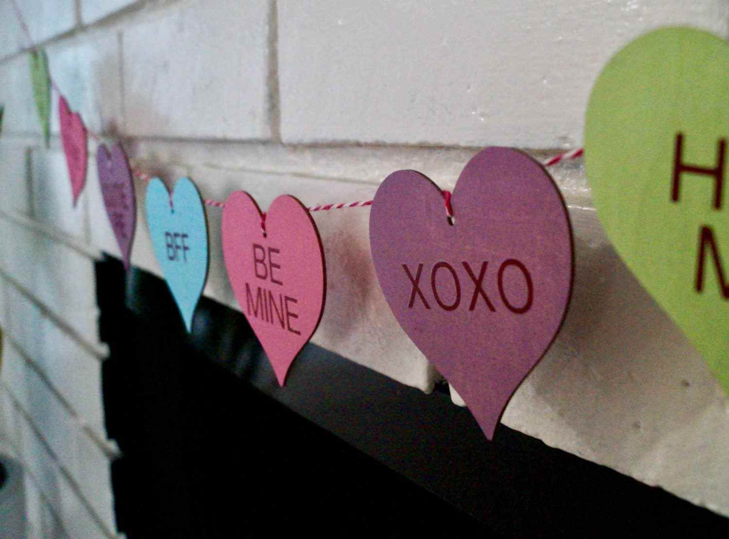 DIY Dollar Tree Conversation Heart Garland