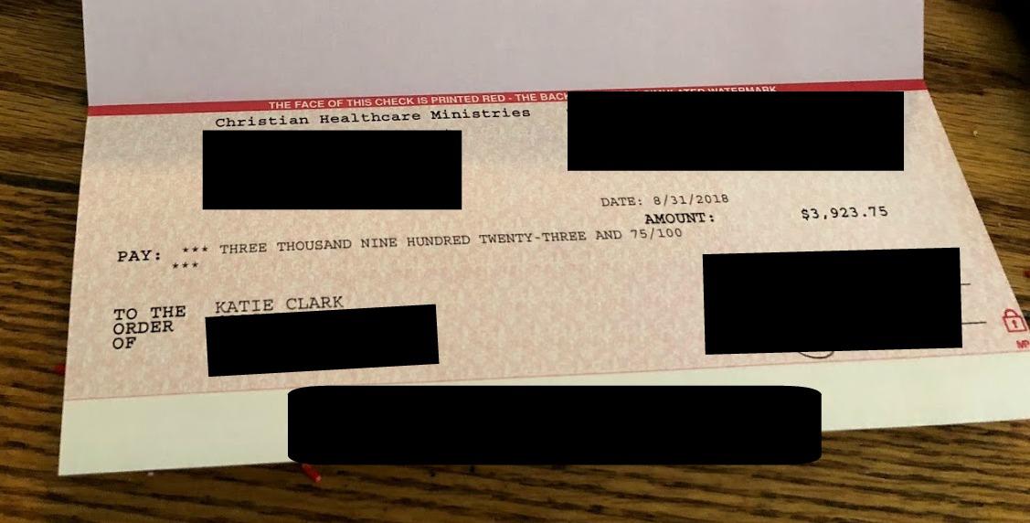 christian healthcare ministries reimbursement check