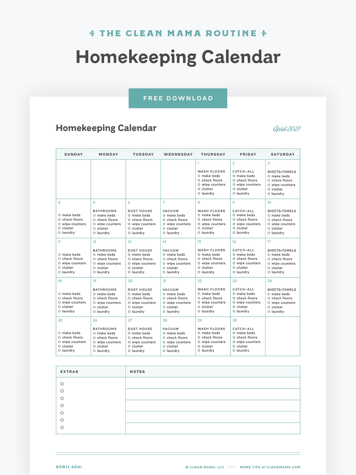 Free April 2021 Homekeeping Calendar – Clean Mama