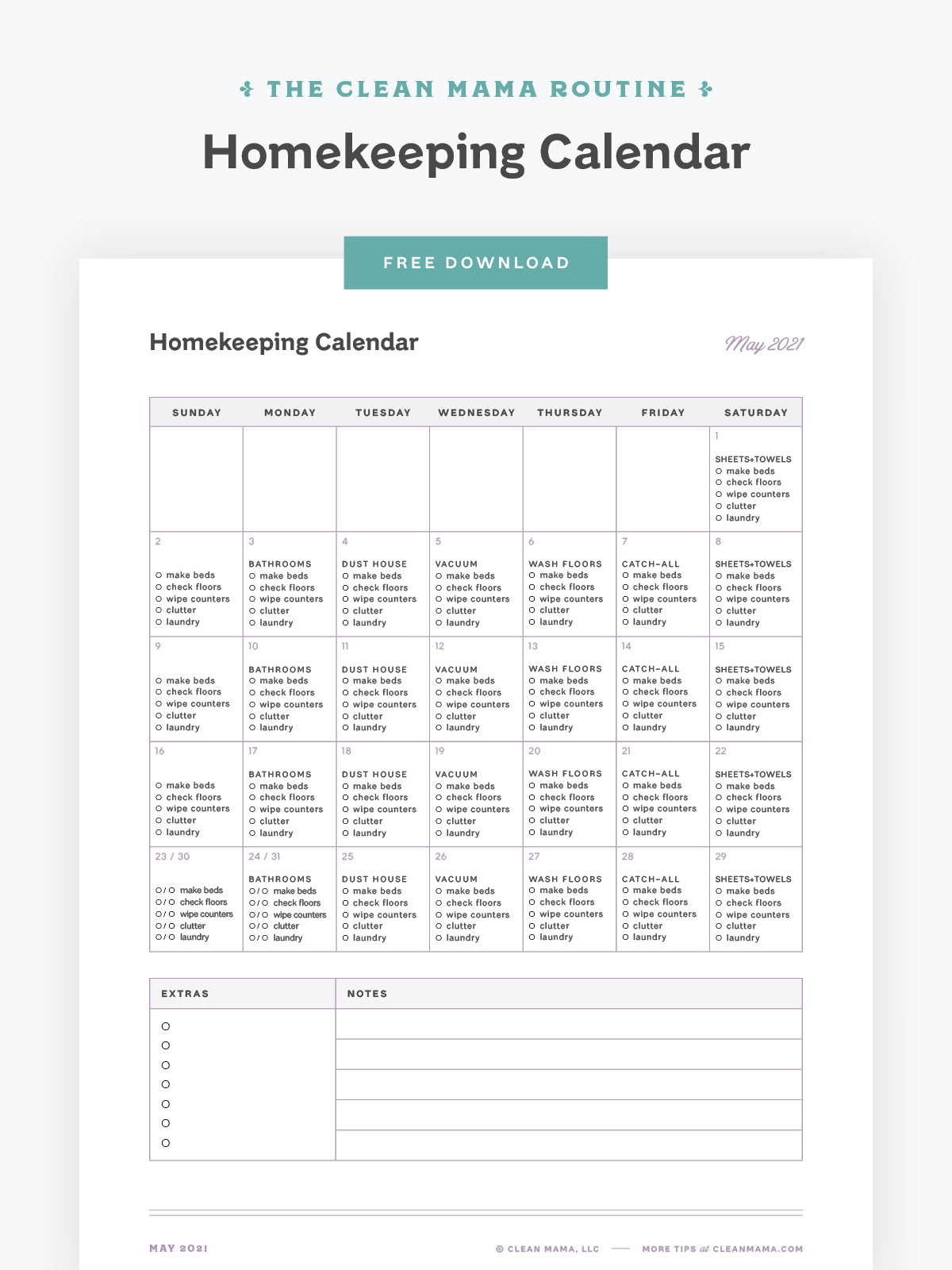 Free May 2021 Homekeeping Calendar – Clean Mama