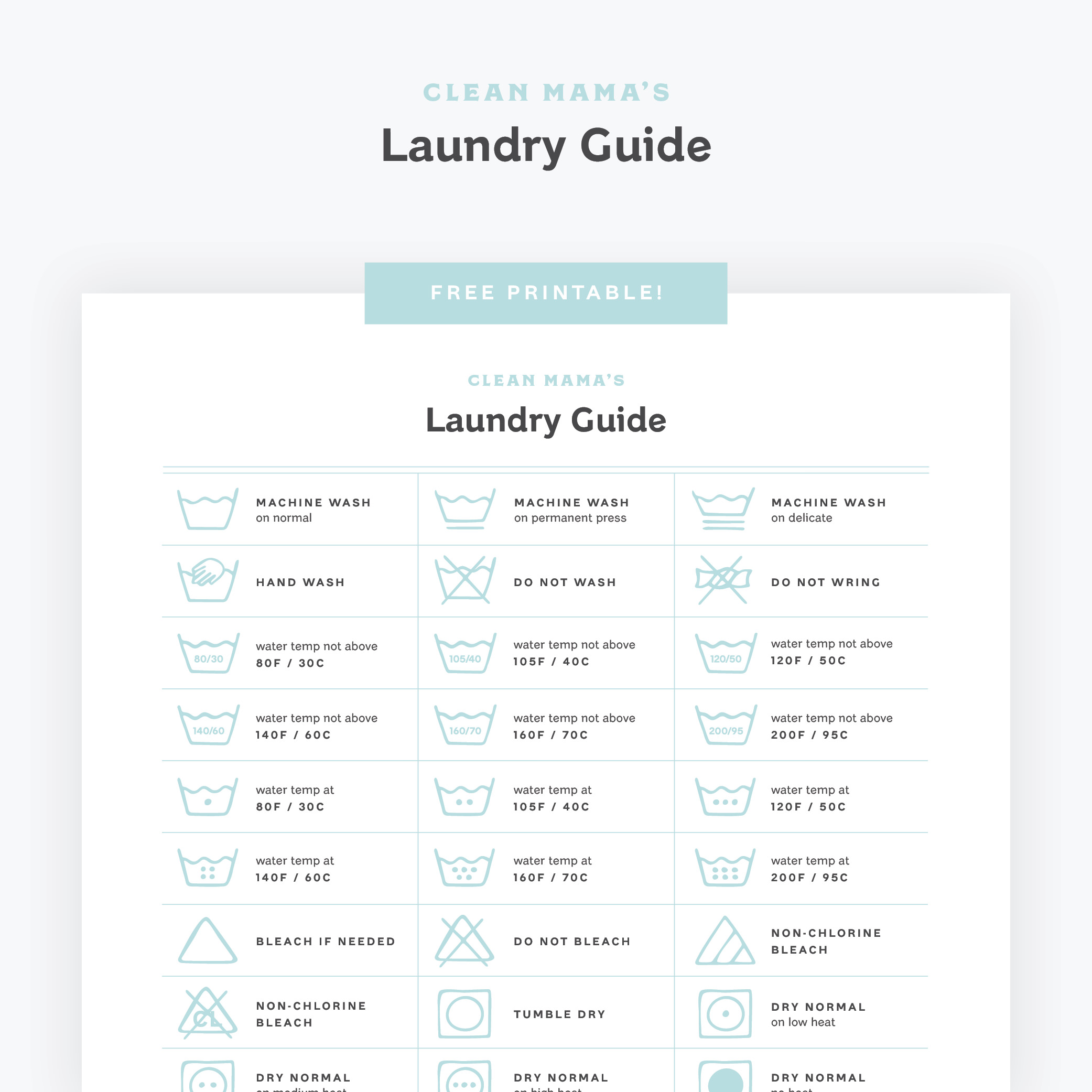 Laundry Guide by Clean Mama