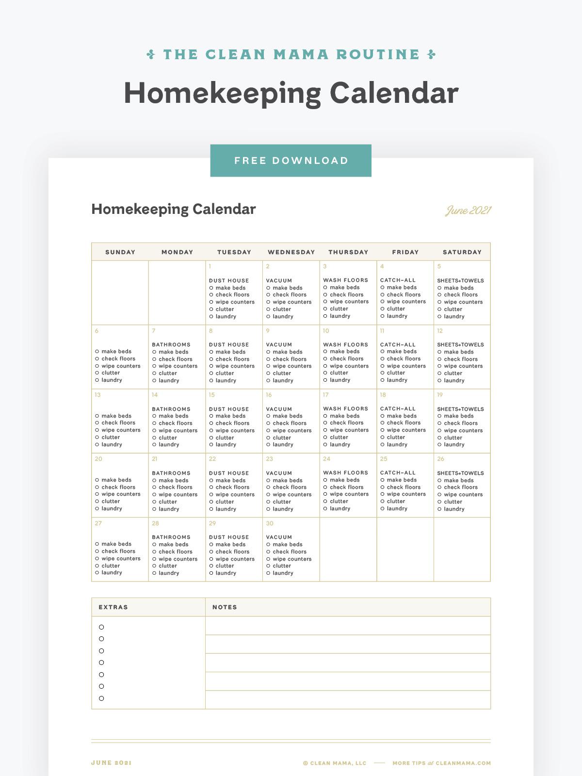 Free June 2021 Homekeeping Calendar – Clean Mama