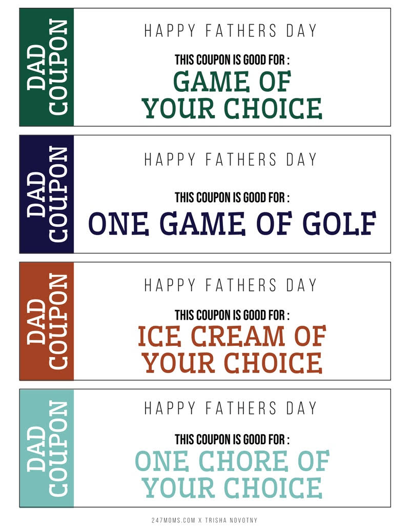 Free Dad Coupons Printable for Father's Day