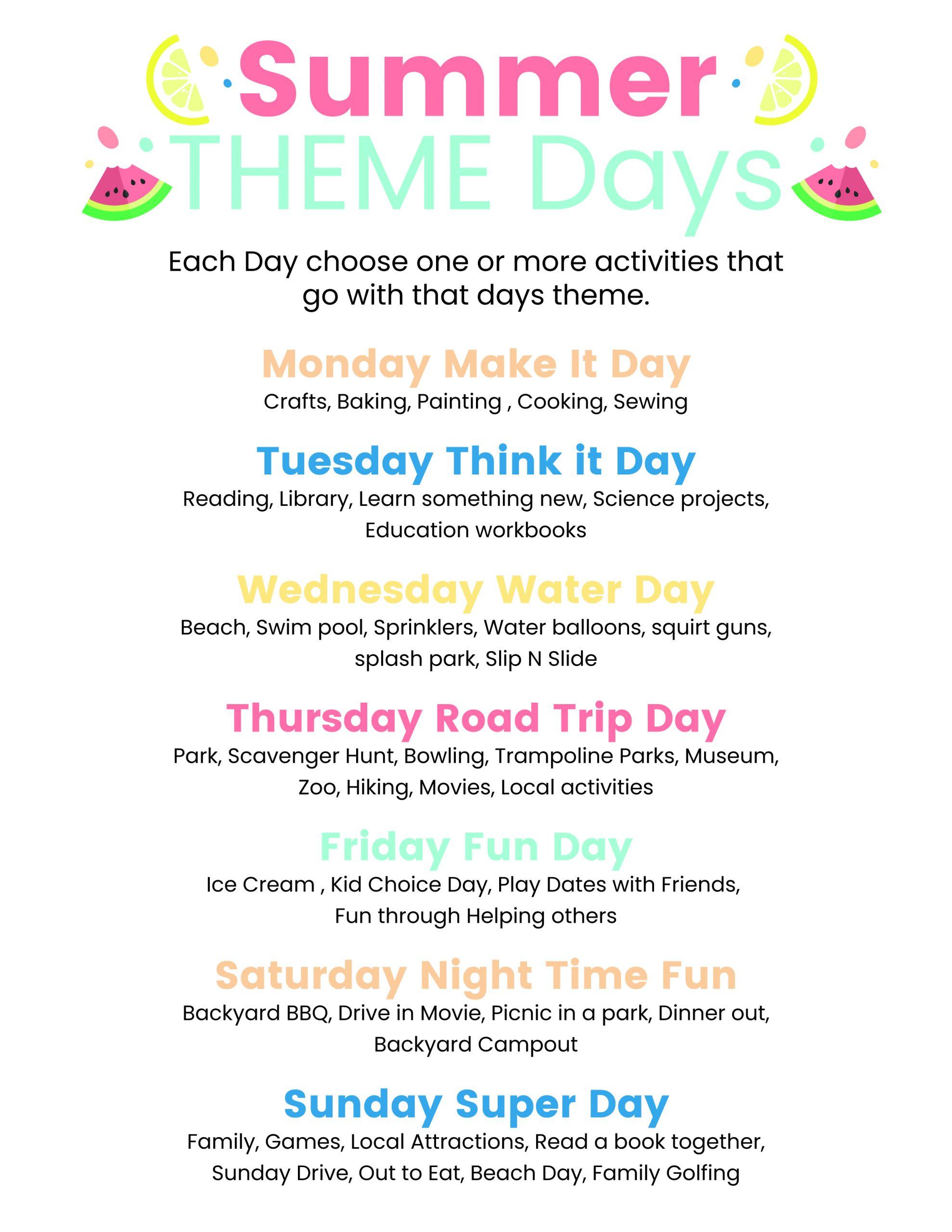 Day 41- Summer Theme Days plus FREE Printable {100 Days of Summer Fun}