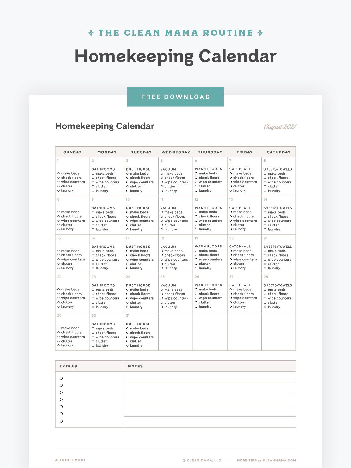 Free August 2021 Homekeeping Calendar – Clean Mama