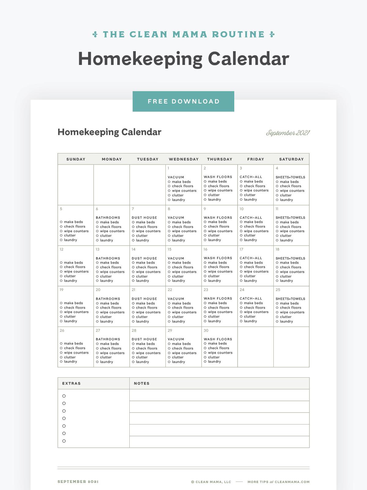 Free September 2021 Homekeeping Calendar – Clean Mama