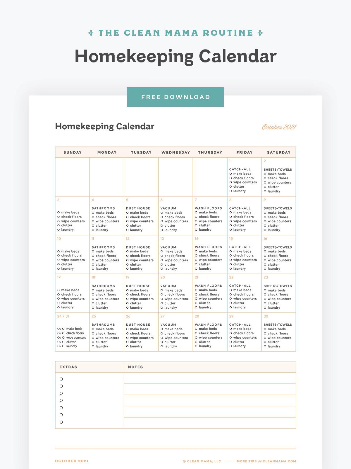 Free October 2021 Homekeeping Calendar