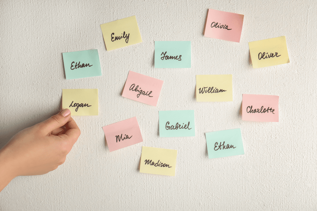 baby name ideas on sticky notes